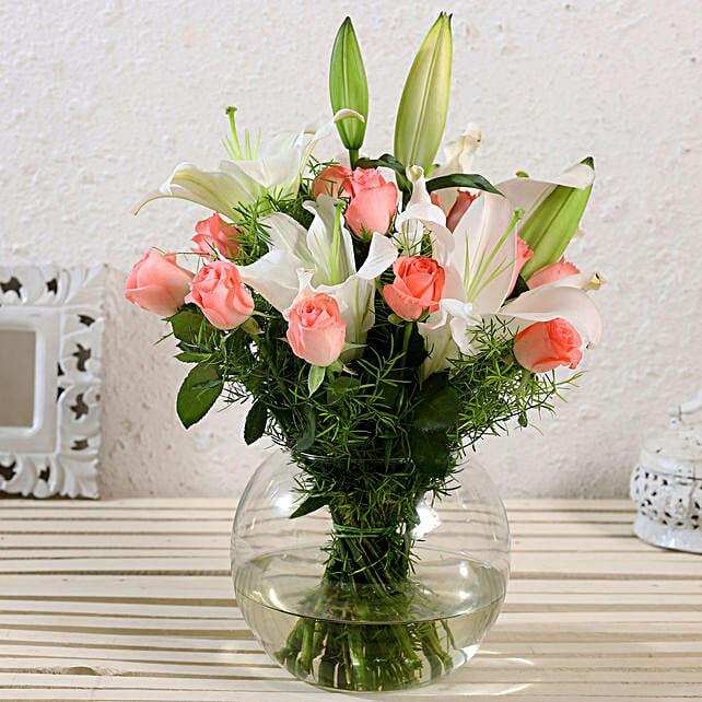 Serene Mixed Flowers Arrangement In Vase