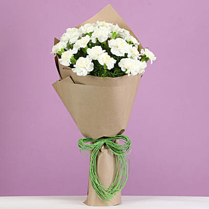 elegant white carnations bouquet for friend