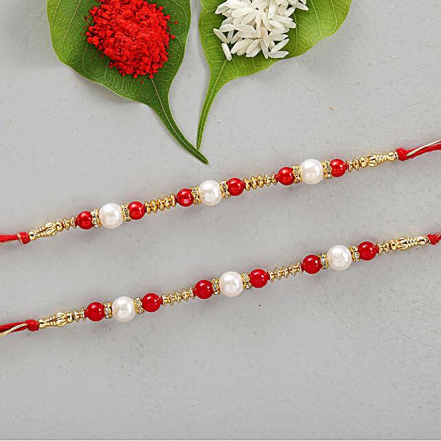 Set Of 2 Appealing Pearl & Beads Rakhis:Rakhi Gifts to Jhansi