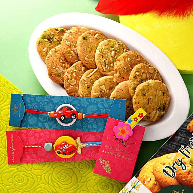 Set of 2 Fancy Car Rakhis N Dry Fruit Cookies