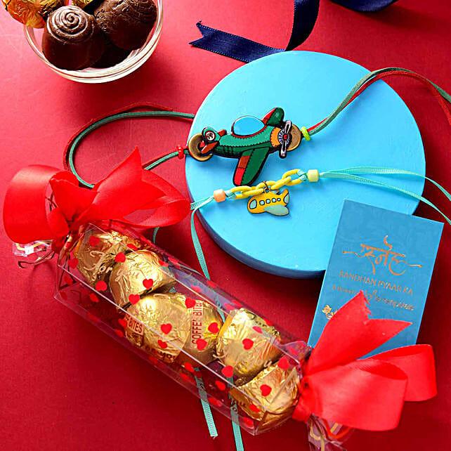 Set of 2 Flyingcrafts Rakhis N Assorted Chocolate Box