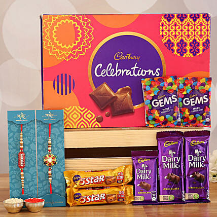 online Set of 2 Rakhis & Celebrations With Box