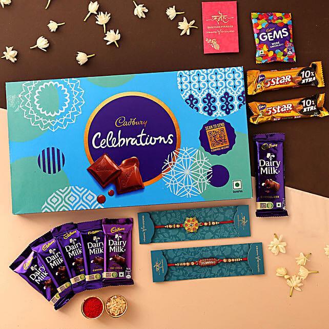 online Set of 2 Rakhis & Celebrations With Box:Set of 2 Rakhis