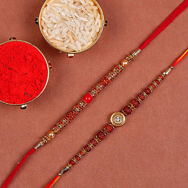 online set of 3 rudraksha rakhi