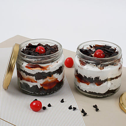 Sizzling Black Forest Jar Cake:Birthday Cake Delivery In Chandigarh