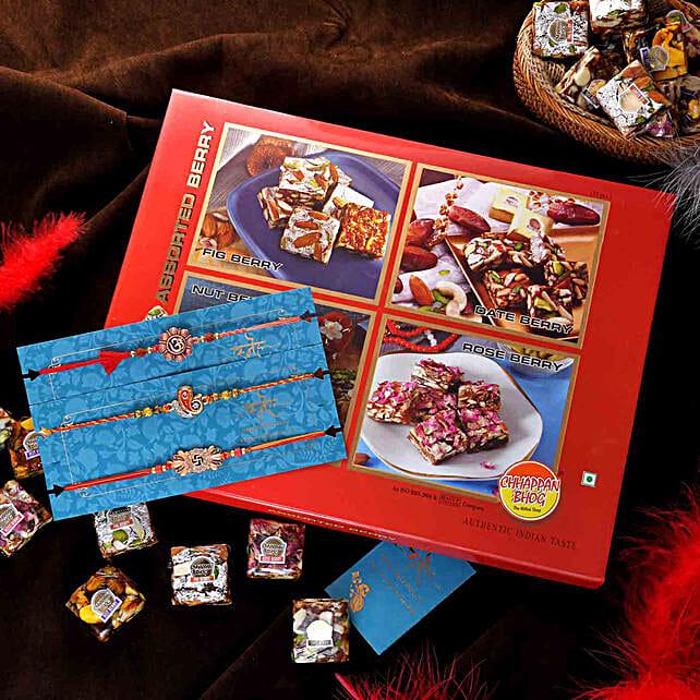 Set of 3 Om N Ganesha Rakhis With Assorted Berry Bites