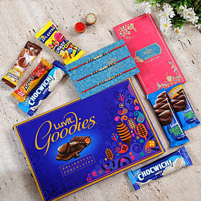 Set of 3 Pearl Pretty Rakhi and LuvIt chocolates:Luvit Chocolates