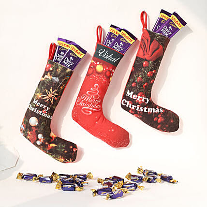 happy Christmas sock loaded of chocolates
