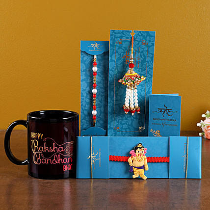 Online Set Of 3 Rakhis & Black Printed Mug Combo