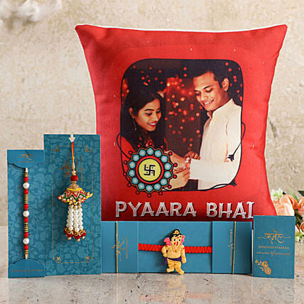 Customised Cushion and Rakhis For Bhai