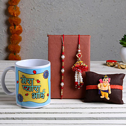 Online Set Of 3 Rakhis with Printed White Mug