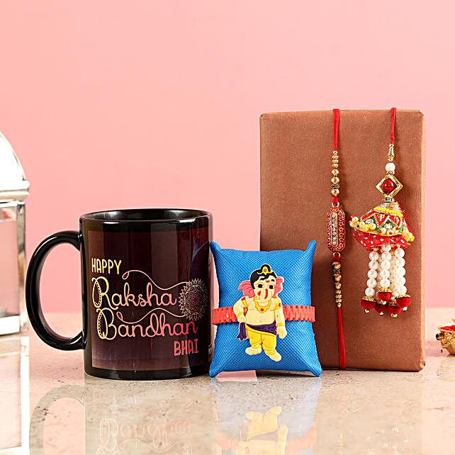 online Set of 3 Rakhis & Printed Mug Combo