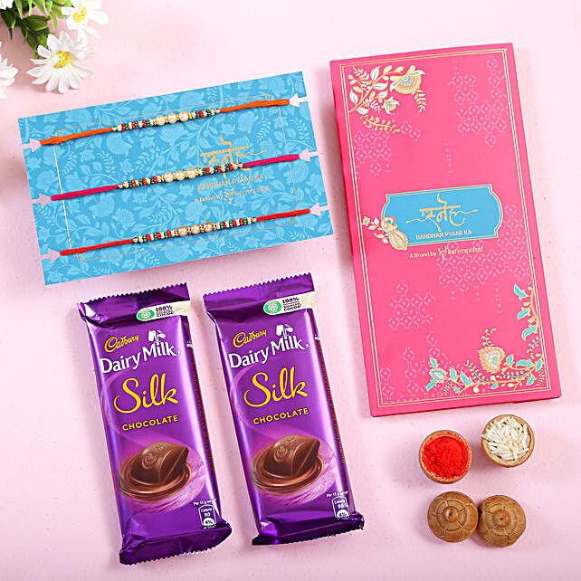 Set of 3 Sleek Pearl Rakhi and Sweet Chocolates