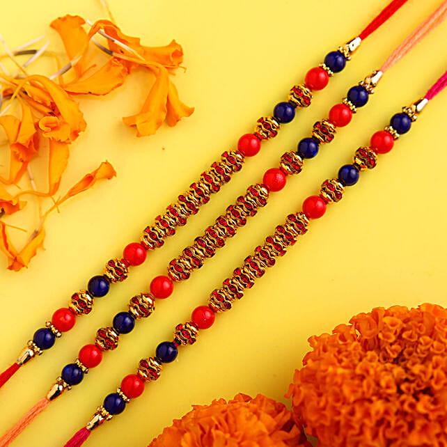 Set of 3 Vibrant Beads Rakhi