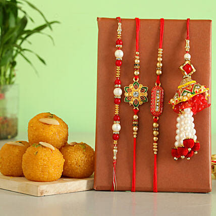 Buy 4 rakhi sets with motichoor laddu online
