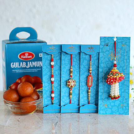 Rakhi Set With Sweets For Bhai - Bhabhi