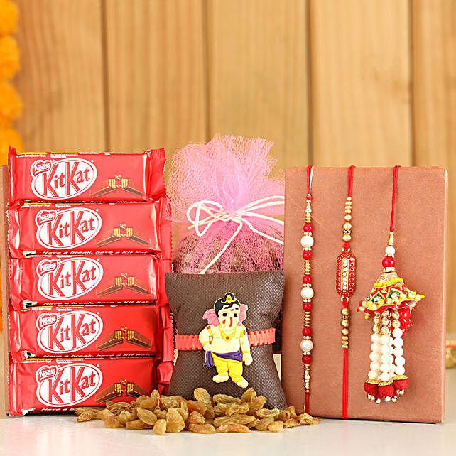 Set Of 4 Rakhis With Raisins KitKat