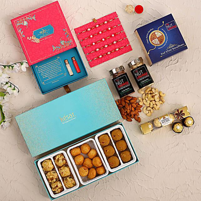 Set of 5 Pearl Rakhi N Sweet Savoury Treats