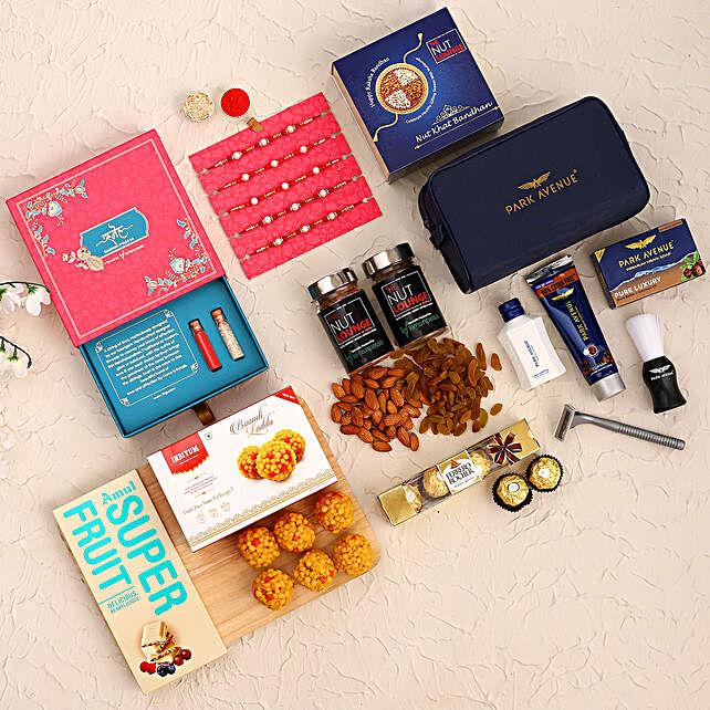 Set of 5 Pearl Rakhi N Treats With Grooming Kit