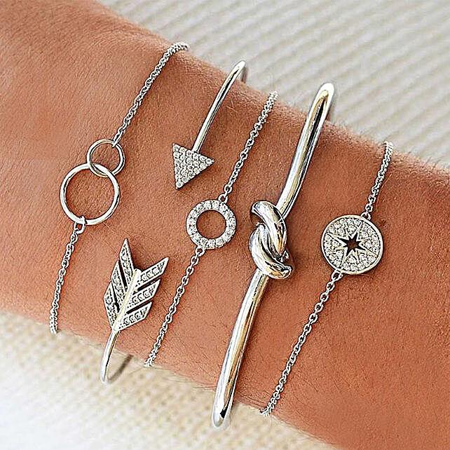 Set of 5 Silver Bracelets