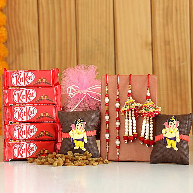 Set Of 6 Rakhis With Raisins KitKat