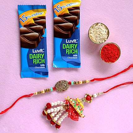 bhaiya bhabhi rakhis with chocolates
