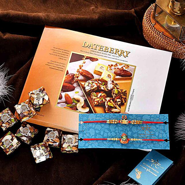 Shiva Damru N Ganesha Rakhi Set With Dateberry Bites:Rakhi With Premium Sweets