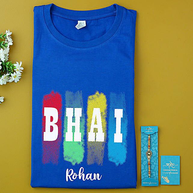 Shiva Divine Rakhi And Personalised Name Bhai T-shirt:Send Personalised Tee Shirts