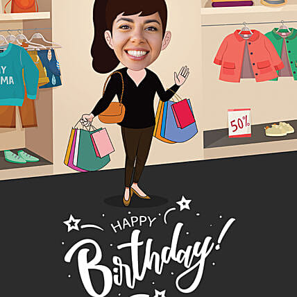 shopaholic caricature for her birthday