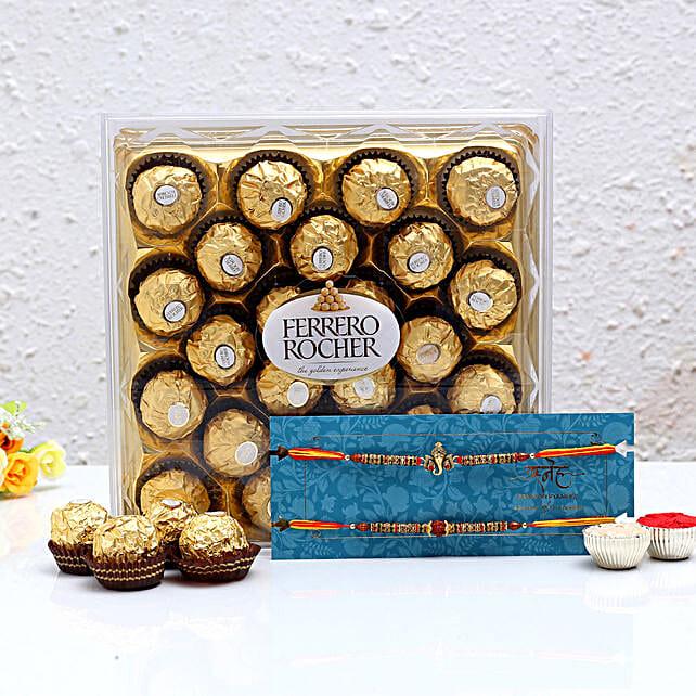Shree Rakhi Set and Ferrero Rocher:Raksha Bandhan Chocolates