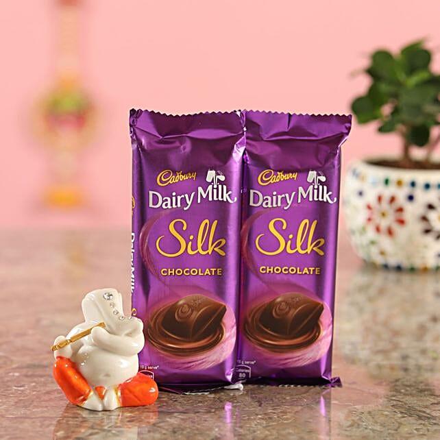 Silk Chocolate Bar With Ganesha Idol:Send Diyas
