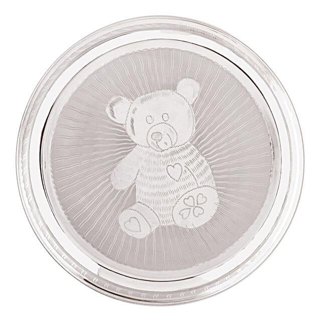 Teddy Bear Printed Silver Baby Plate