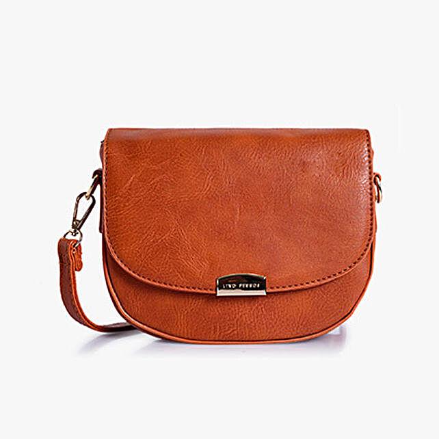 leather Tan sling bag for girls