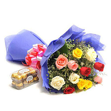 Simple Mix Emotions - Bunch of 12 Mix colour roses in paper packing with 200gm Ferrero rocher chocolate box.