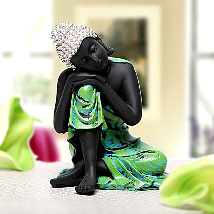 Sleeping Buddha-1 black and green coloured sleeping Buddha idol:Housewarming Gift Ideas