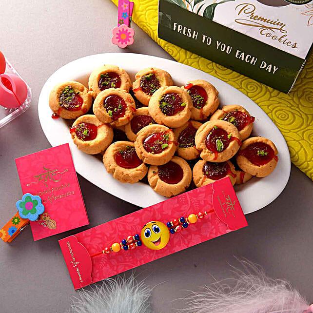 Smiley Beads Rakhi N Jam Cookies