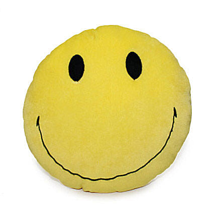 Smiley For You-12 x 12 inch smiley face cushion:Send Soft toys to Ludhiana