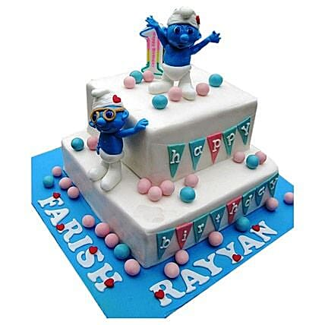 Smurfs Birthday Cake 3kg Eggless
