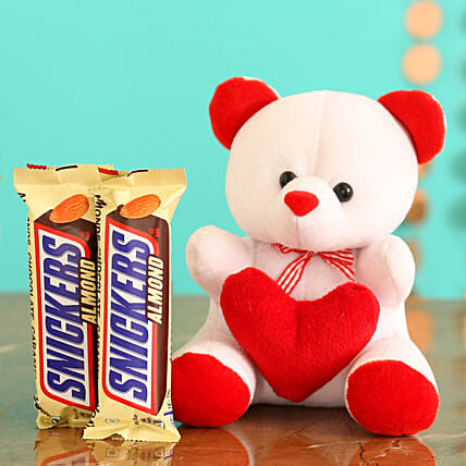Online  Chocolates With Red & White Teddy