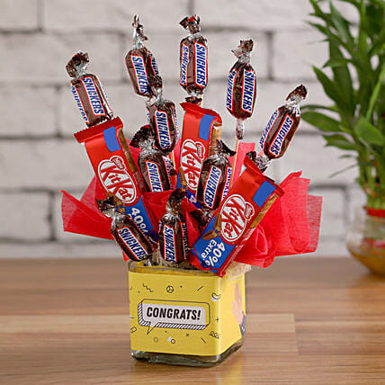 Chocolate Combos in a Glass Vase