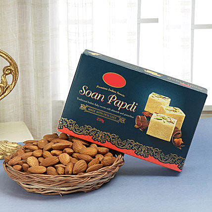 Soan papdi with almonds:Diwali Sweets & Dry Fruits