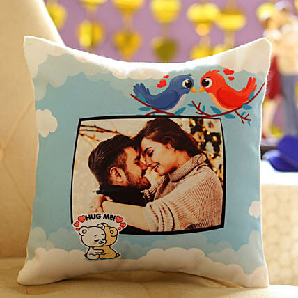 Soft Personalised Cushion for Lovebirds