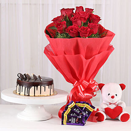 Softy Roses Hamper - Bunch of 12 Red Roses with Soft toy, Chocolates & 500gm Chocolate:Send Cake with Teddy