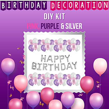 Special Birthday Decoration Kit Pink Purple Silver:Balloon Decoration Ideas