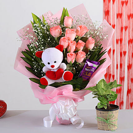 Special Bouquet With Syngonium Plant Teddy