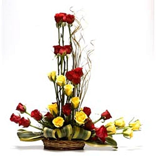 Special Celebration - Basket Arrangement of 30 long stem Red & Yellow roses.