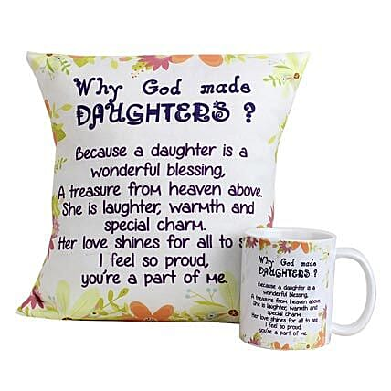 Special Daughters Cushion and Mug-Green And White Coloured 12X12 Daughters Day Cushion,Mug