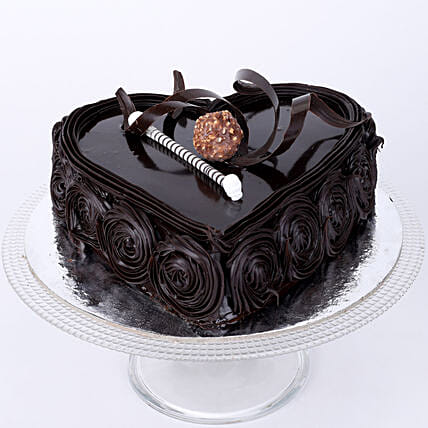 Heart Chocolate Cake 1kg:Send Heart Shaped Cakes for Valentine