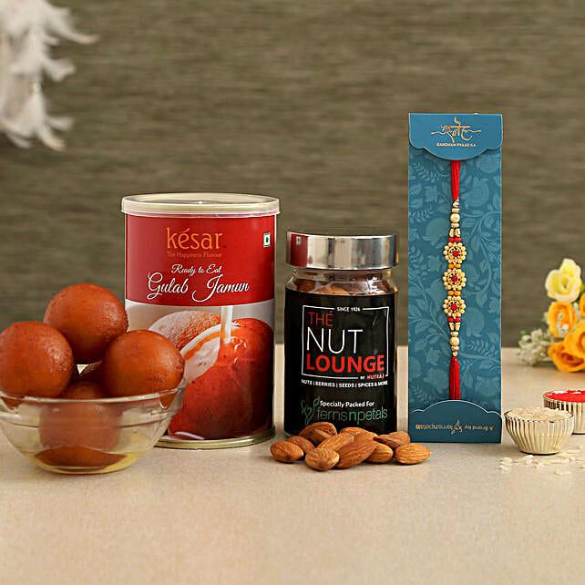 Special Pearl Rakhi With Gulab Jamun And Almonds Jar