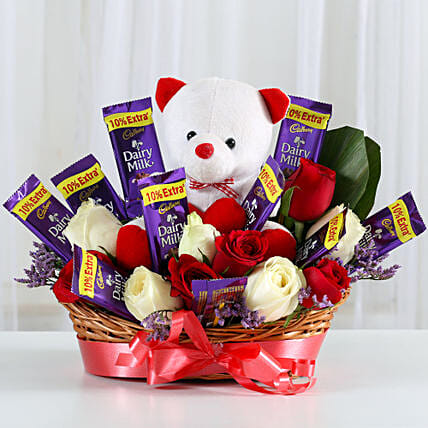 Hamper of chocolates and teddy bear choclates gifts:Valentine Flowers Hyderabad